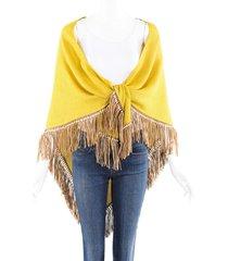 bajra yellow silk leather fringe shawl yellow sz: