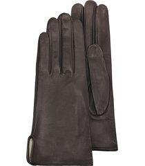 forzieri designer women's gloves, women's brown calf leather gloves w/ silk lining
