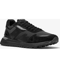 mk sneaker miles in pelle scamosciata e tessuto scuba - nero (nero) - michael kors