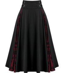 plus size zippered lace panel skull print skirt