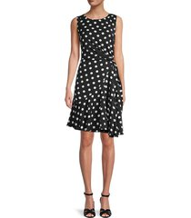 adrianna papell women's polka dot draped dress - black polka dot - size 16