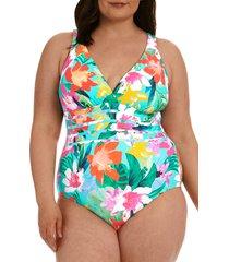 la blanca tropea cross back one-piece swimsuit, size 20w in aquamarine at nordstrom
