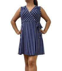 monteau petite striped faux-wrap dress