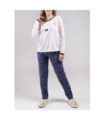pijama longo feminino rosa/azul