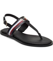 corporate leather flat sandal shoes summer shoes flat sandals svart tommy hilfiger