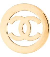 chanel pre-owned mirrored cc brooch - gold