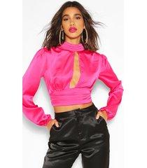 high neck cut out blouson blouse, pink
