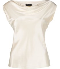 theory draped boat-neck blouse - neutrals