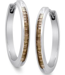 sterling silver earrings, champagne diamond baguette hoop earrings (1/4 ct. t.w.)