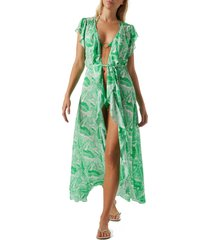 women's melissa odabash bria tie front cover-up dress, size large - green