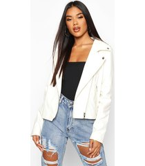 faux leather zip biker jacket, white