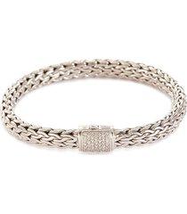 'classic chain' diamond silver medium bracelet