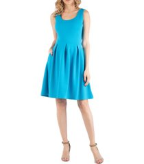 24seven comfort apparel sleeveless pleated maternity dress with pockets