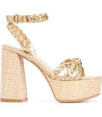 gianvito rossi braided platform sandals - gold
