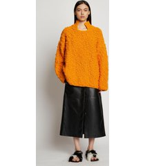 proenza schouler crochet knit oversized sweater marigold/yellow xl