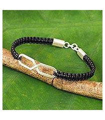 leather and sterling silver bracelet, 'infinite friendship in black' (thailand)