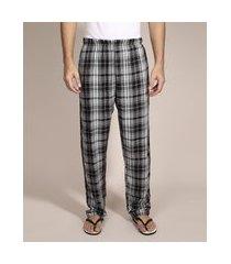 calça de pijama em flanela estampada xadrez com bolso preta