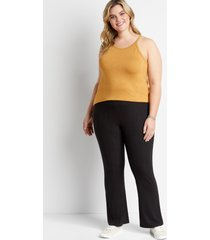 maurices plus size womens black ribbed flare leg pants