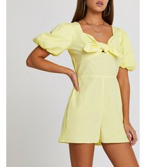 river island womens yellow puff sleeve bow front playsuit