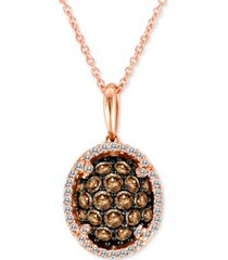 "le vian chocolatier diamond oval cluster 18"" pendant necklace (3/4 ct. t.w.) in 14k rose gold"