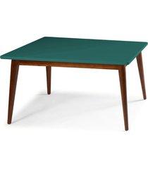 mesa de madeira retangular 180x90 cm novita 609-3 cacau/azul claro - maxima