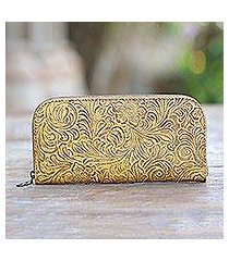 tooled leather wallet, 'flowers of ubud in maize' (indonesia)