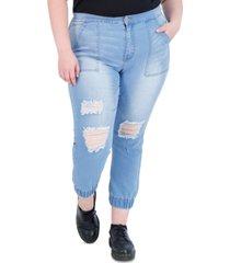 gogo jeans trendy plus size destructed jean joggers