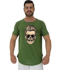camiseta longline alto conceito caveira cabelo estiloso nuno verde - verde - masculino - algodã£o - dafiti
