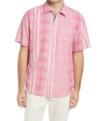 men's tommy bahama bay street blues short sleeve silk button-up shirt, size medium - pink