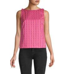 trina turk women's leave geometric-print shell top - pink - size xs