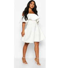 bonded scuba off the shoulder frill skater dress, ivory