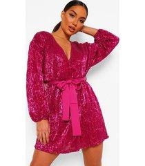 mini jurk met pailletten, lange mouwen en ceintuur, purple
