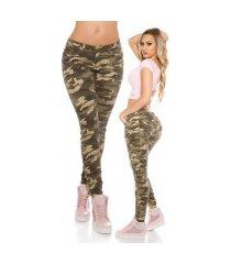 trendy skinny jeans print leger-kleurig