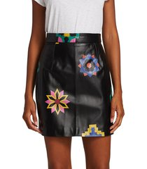 kirin women's floral leather mini skirt - black - size 38 (6)