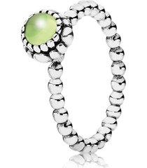 anel de prata pontos com peridoto - agosto