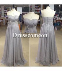 sexy sweetheart embroidery beads silver grey chiffon evening/formal prom dress