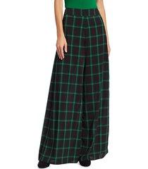 alice + olivia women's athena windowpane check wide-leg pants - black green plaid - size 0