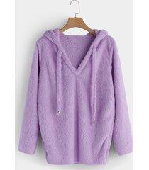 suéter mohair morado con cordón capucha