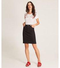 falda recta con bragueta índigo