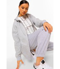 basic oversized hoodie met rits, grey marl