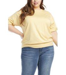 plus size women's karen kane roll sleeve french terry t-shirt, size 3x - yellow