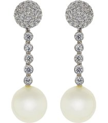 pearl ball drop clip earrings