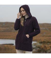 hooded damson irish aran zipper coat large