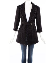 chanel black wool cashmere boucle belted blazer jacket black/multicolor sz: m