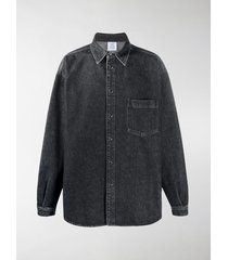 vetements logo-print denim shirt