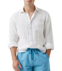 men's rodd & gunn seaford linen button-up shirt, size xxx-large - white