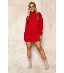 plus trui jurk met col, rood