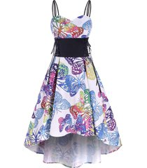 butterfly print lace up high low party dress