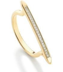 diamond skinny stacking ring, gold vermeil on silver