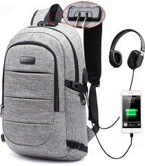 maleta para portátil ambor candado antirobo conexión usb - gris